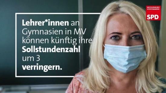 Lehrer Gymnasium können Sollstundenzahl verringern SPD MV
